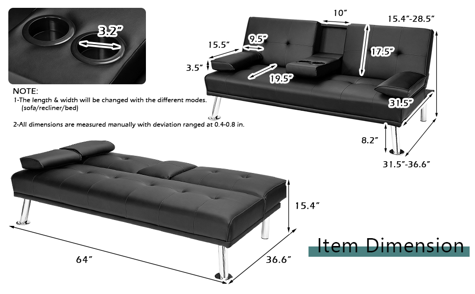 Leather Futon Sofa Bed Convertible Folding Couch