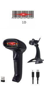 1D laser handheld wireless barcode scanner with stand