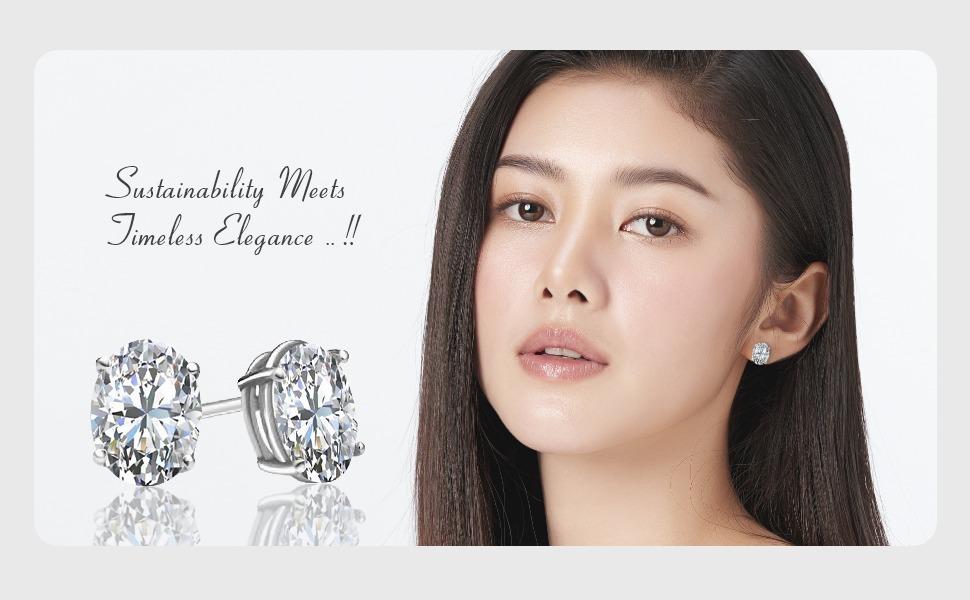 Oval Shape Lab-Grown Diamond Earring Studs