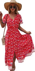 Women Floral Maxi Dress Summer Boho Beach Dress Short Sleeve V Neck Flowy Split Dress