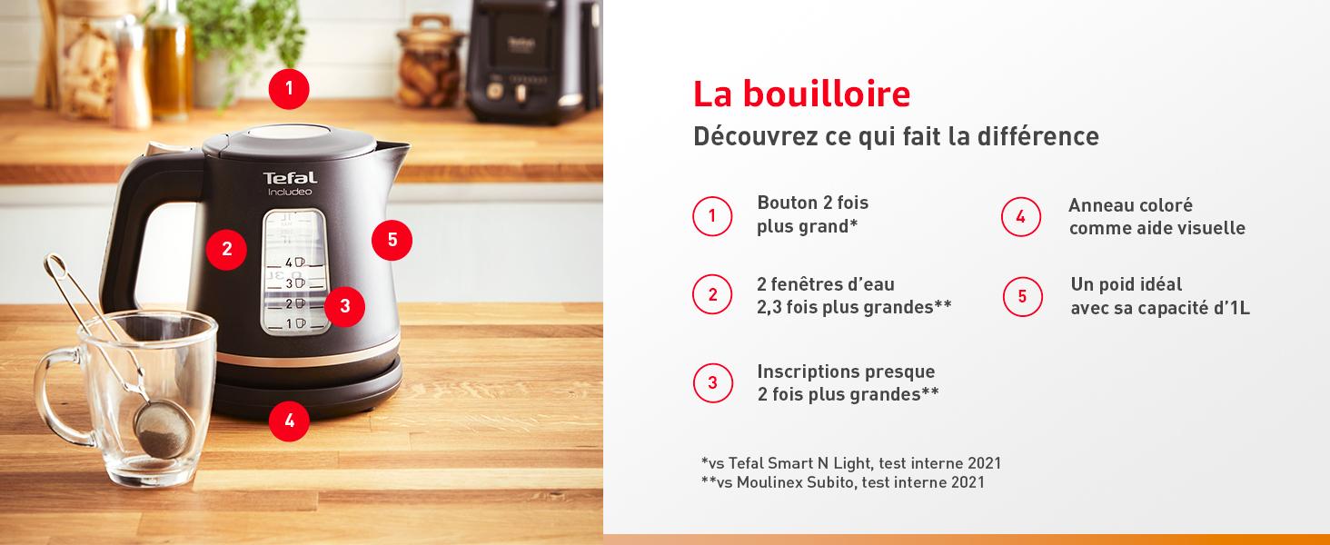 La bouilloire, découvrez ce qui fait la différence : bouton 2x plus grand etc...
