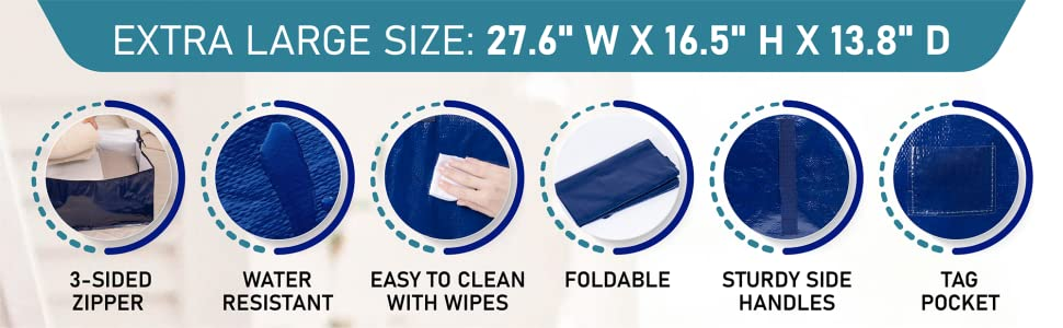 VENO clothing storage bags have tag pocket,3 sided zipper,foldable,water resistant,easy to clean