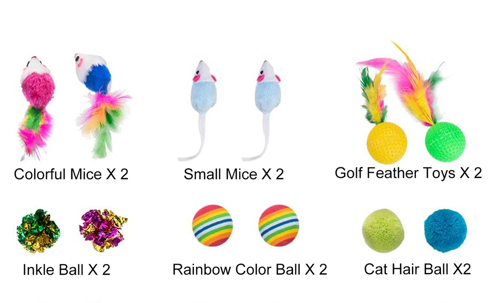 Foldable Rainbow Tunnel, Cat Feather Teaser Wand Interactive Feather Toy Fluffy Mouse Crinkle Balls