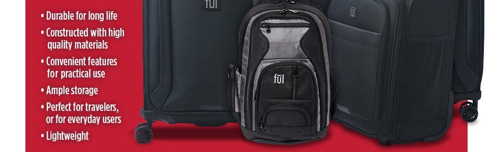 luggage, hard, soft, carry on, spinning wheels, black, travel, nesting, black, white, bags, backpack