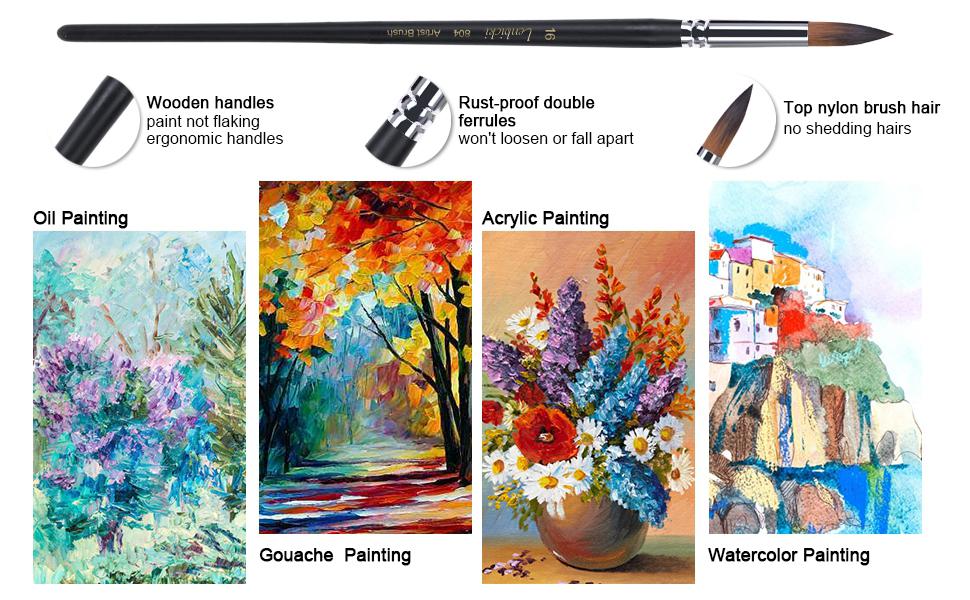 9Pcs Watercolor Paint Brushes