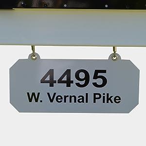 Metal hanging address plate