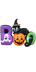 BZB Goods 6 Foot Long Lighted Halloween Inflatable Black Cat Ghost Pumpkin Boo LED Lights