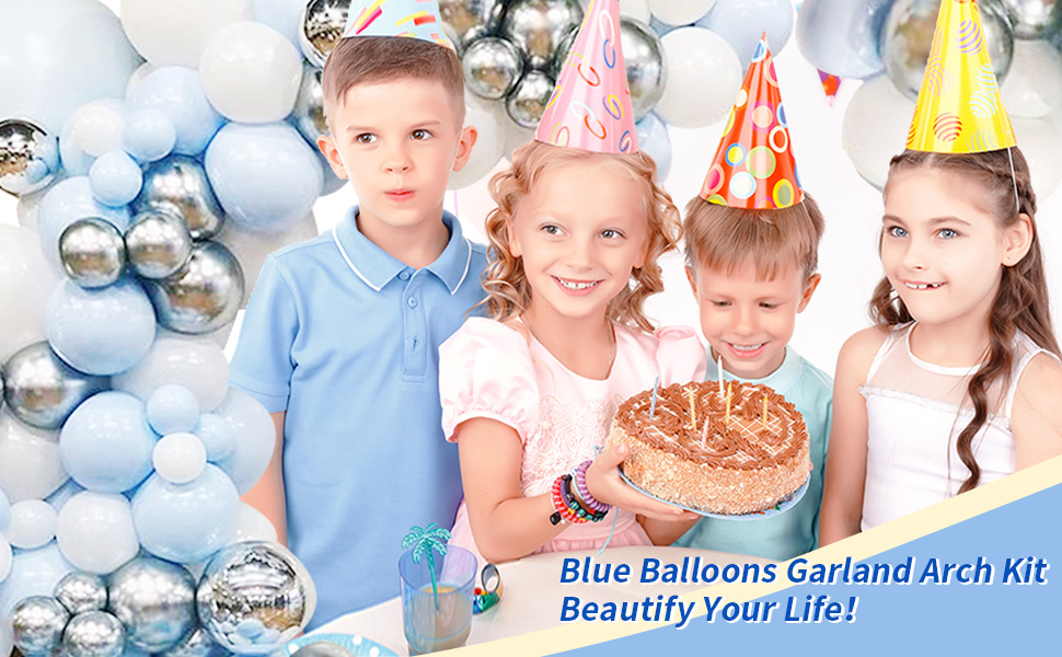 Blue balloons garland arch kit for birthday party baby shower graduation