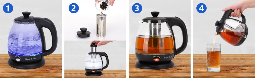 Show the whole process from boiling water, adding tea leaves, making tea to pouring tea.