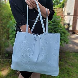 Shopper mit innentasche echtleder damen