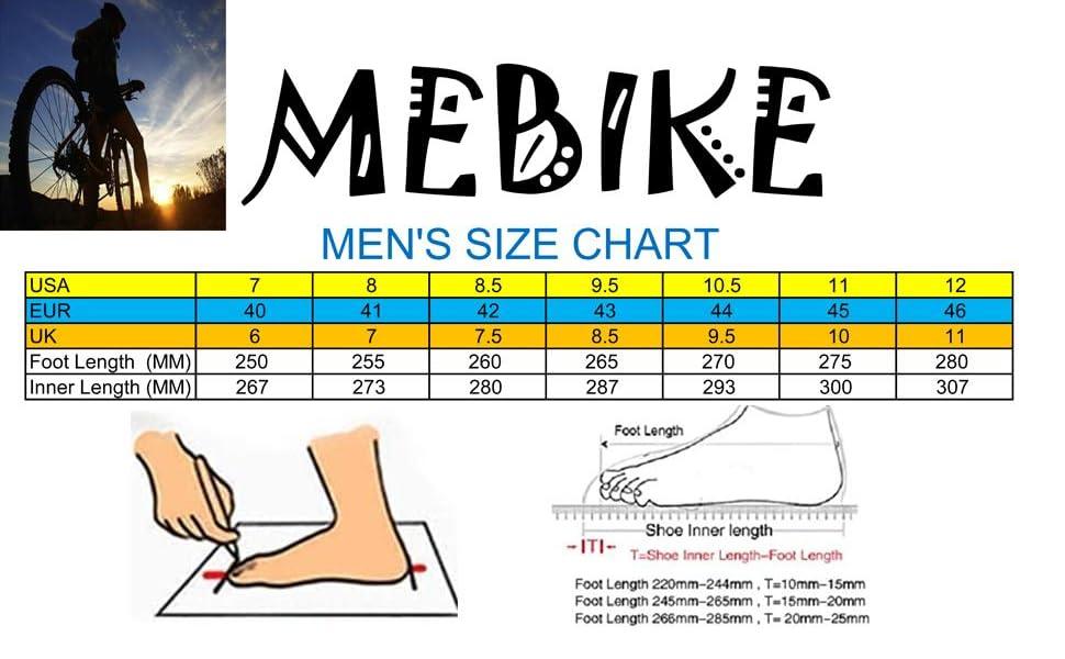 MEBIKE cycling shoes size chart