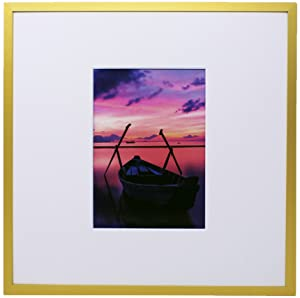 12x12 Gold Metal Picture Frame with Plexiglass Front and both Desktop Easel and Hanging Hardware