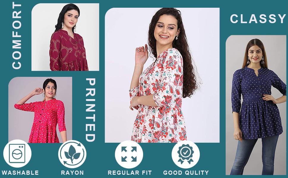 SPN-JGSHanumntra Women/Girls Rayon Printed Top