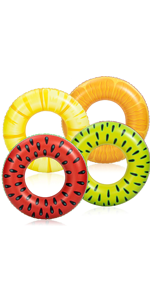 Inflatable Pool Floats Fruit Tube Rings (4 Pack)