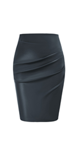 Women Vintage Ruched Front Midi Bodycon Work Skirt