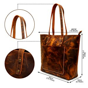 Shoulder tote bag size