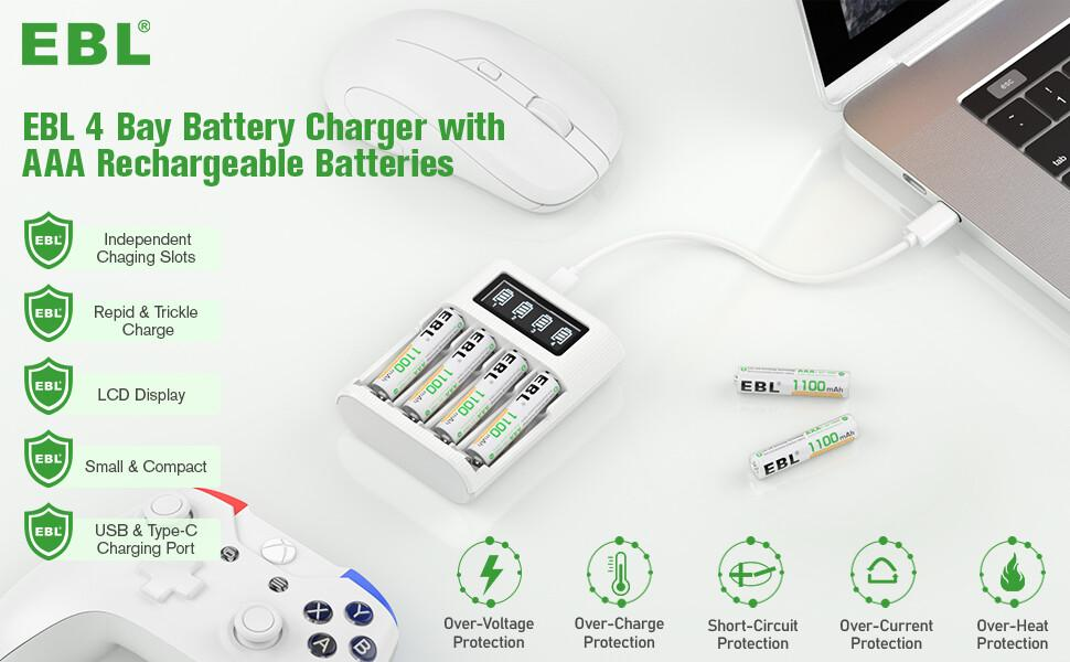 ebl aaa rechargeable batteries with 4 bay battery charger