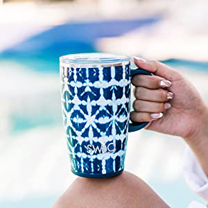 swig life indigo isles travel mug coffee tumbler with handle and lid cute gift insulated women