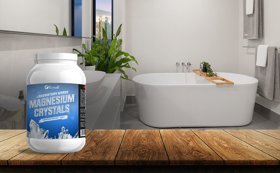 bottle of magnesium crystals with image of bathroom and bathtub behind