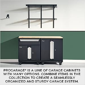 closetmaid, garage, progarage, storage, organization, heavy duty, cabinets, shelves, workbench,