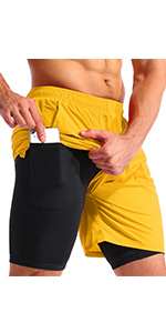mens 2 in 1 running shorts 7 inch