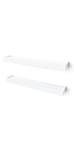 """24"""" Ledge Wall Shelves, Set of 2, White"""
