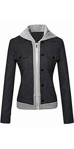 Slim Denim Look Faux PU Leather Hooded Short Trucker Jacket Coats