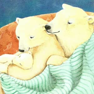 Illustration of two adult polar bear snuggling their new baby cub under a green striped blanket.