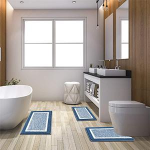 Microfiber Absorbent Bath Shower Mat Carpets and U-Shaped Toilet Rug