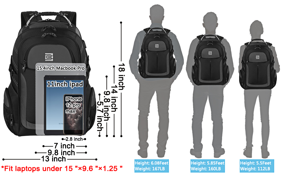 Travel Business School Laptop Backpack fit 15.6 Inch Laptop
