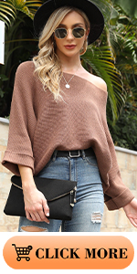 3/4 Sleeves Off Shoulder Sweaters
