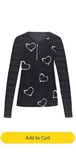 Stripe Long Sleeve T-Shirt Women V Neck Zip Heart Face Print Slim Fit Tunic Tops