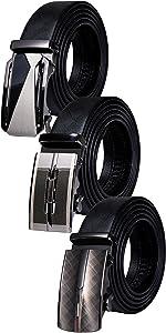 mens belt buckle ratchet leather strap black business fashion removable adjustable