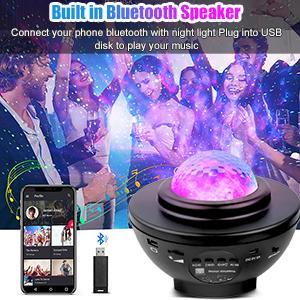 Star Projector Night Light with Music Speaker