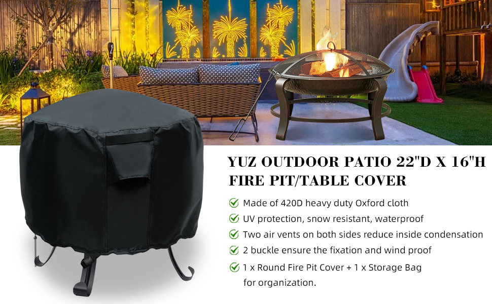 yuz outdoor patio 22amp;#39;amp;#39;D*16Hamp;#39;amp;#39; fire pit/table cover