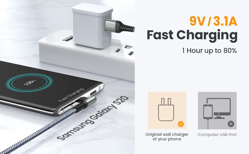 9V / 3.1A Fast charging