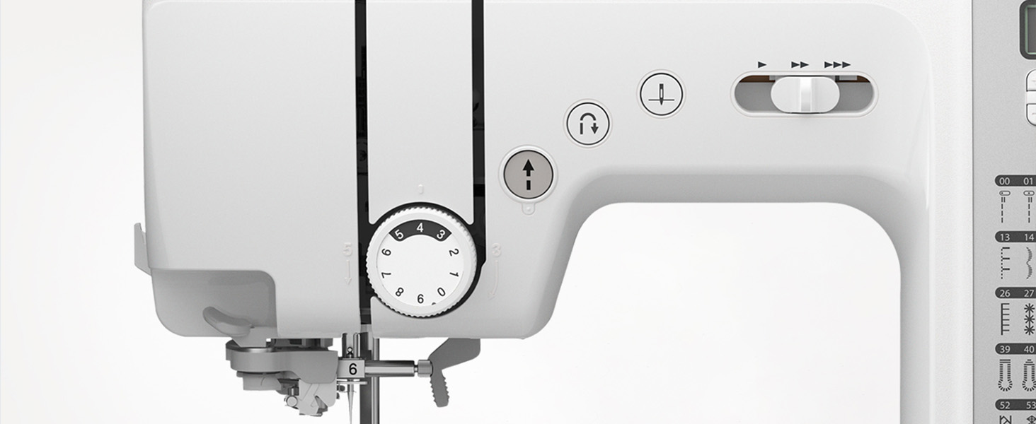 Sewing machine arm with computerized start, stop, reverse, needle down, and speed control