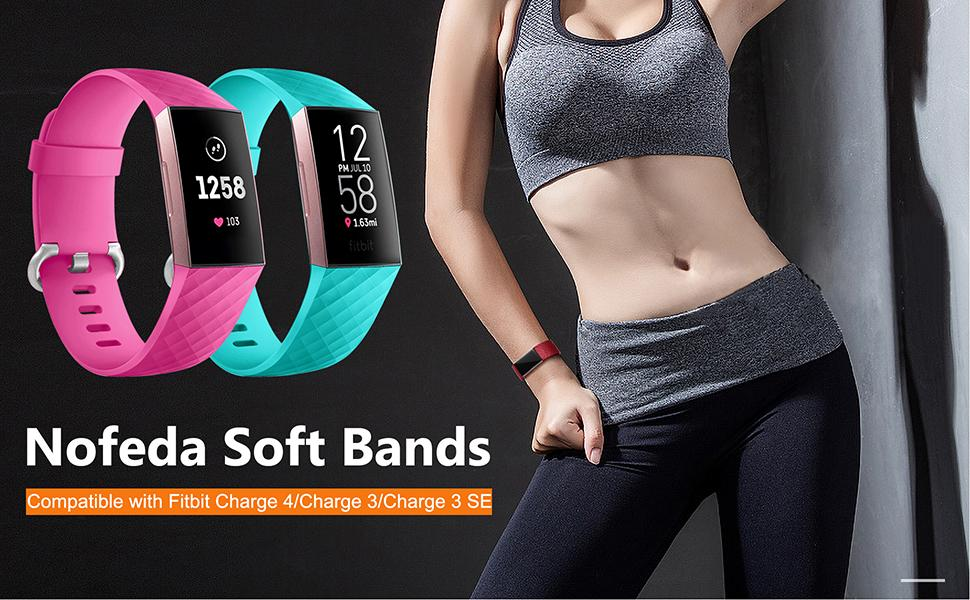Nofeda 6 Pack Bands Compatiable with Fitbit Charge 4/Charge 3/Charge 3 SE