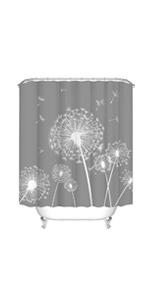 grey dandelion bathroom curtain