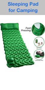 Camping Sleeping Pad Mat with Air Pillow Foot Press