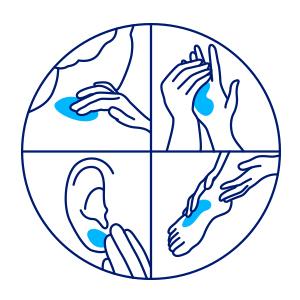 Ilustração: mão aplicando o protetor solar nos pés, orelhas, nuca e mãos