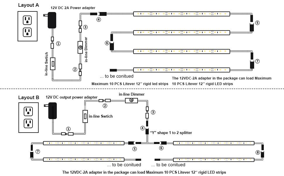 Litever 6-Rigid-Strip Under Cabinet Lighting Kit--Layout