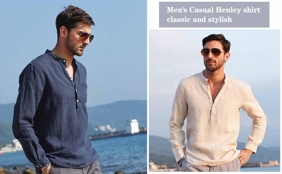 Babioboa Mens Long Sleeve Shirts Linen Button Down Beach Casual Summer Shirts