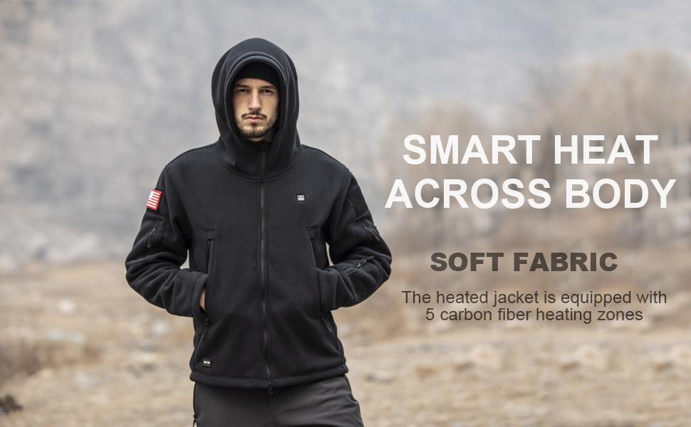 DEWBU Polar Fleece Heated Jacket with Battery Pack Soft Fleece Electric Heating Hoodie
