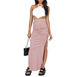SK621 Bodycon Drawstring Split Long Maxi Skirt Pink