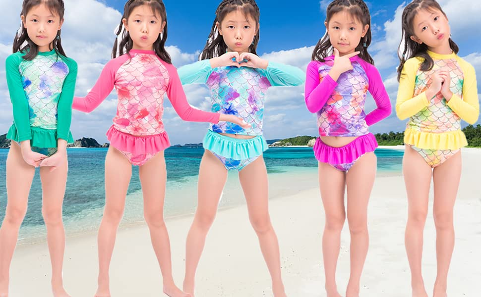 MRYUWB Little Girls Rash Guard Swimsuit Set