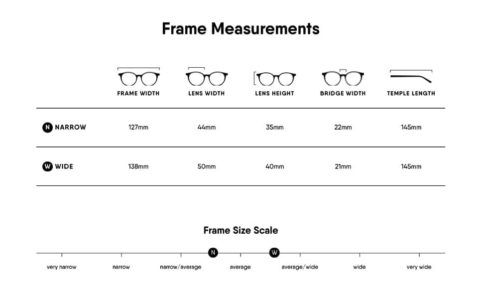 eyeglasses sizing guide