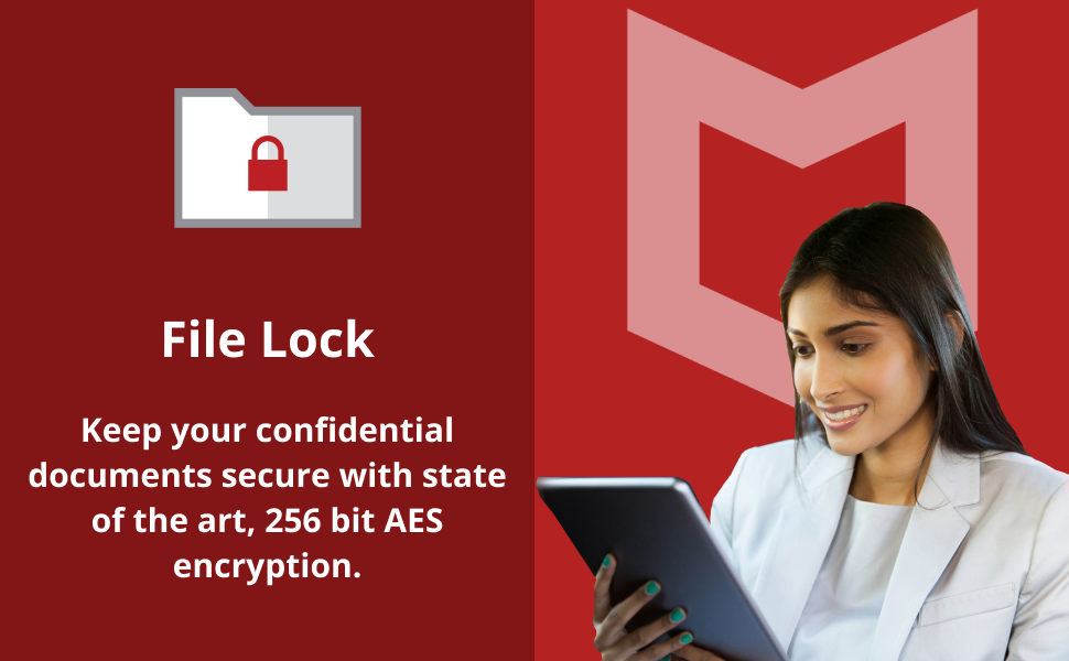 McAfee total protection antivirus software, file lock feature