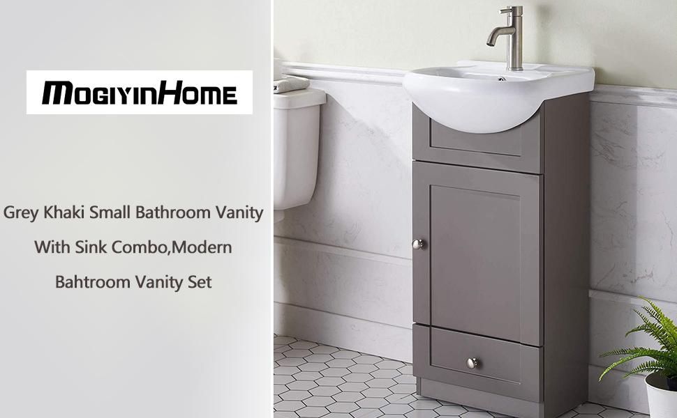 Mogiyin Modern Small White Bathroom Vanity