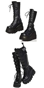 platform boots wedge boots mid calf boots black knee high boots